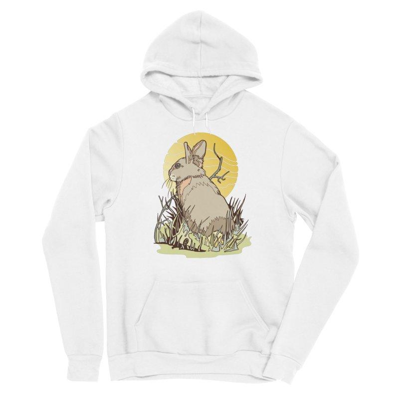 October Rabbit Men's Sponge Fleece Pullover Hoody by My Metal Hand Artist Shop