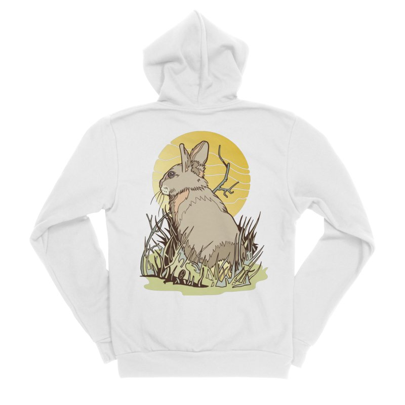 October Rabbit Women's Sponge Fleece Zip-Up Hoody by My Metal Hand Artist Shop