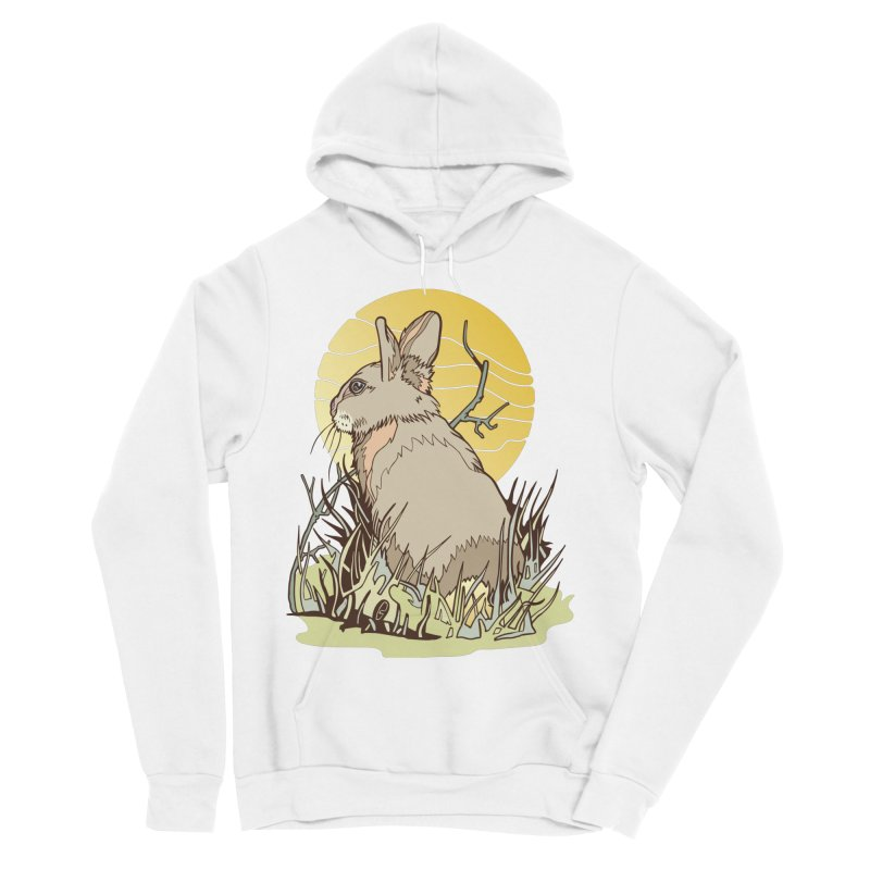 October Rabbit Men's Sponge Fleece Pullover Hoody by My Metal Hand Artist Shop