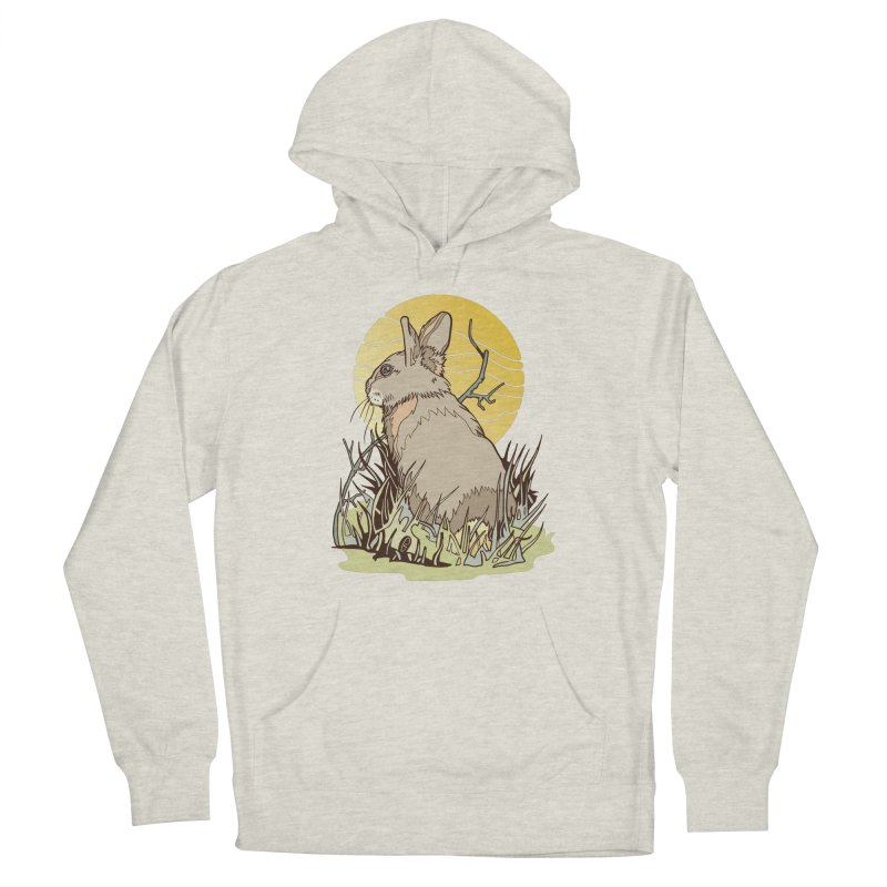 October Rabbit Men's French Terry Pullover Hoody by My Metal Hand Artist Shop