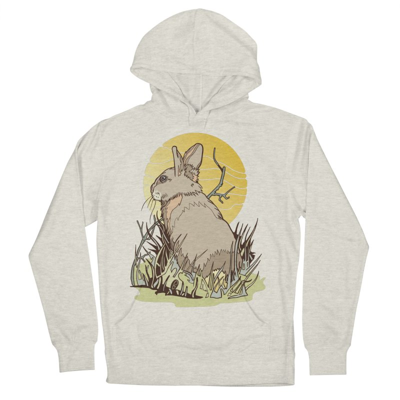 October Rabbit Women's French Terry Pullover Hoody by My Metal Hand Artist Shop