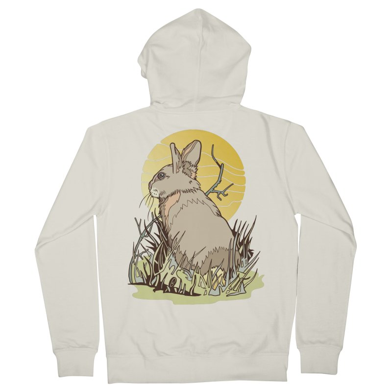 October Rabbit Men's French Terry Zip-Up Hoody by My Metal Hand Artist Shop