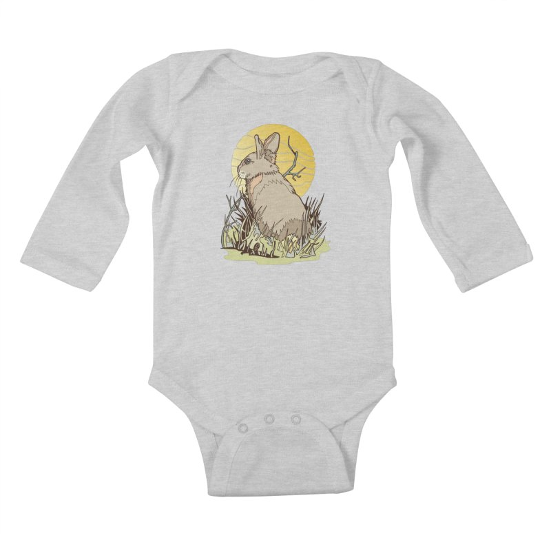 October Rabbit Kids Baby Longsleeve Bodysuit by My Metal Hand Artist Shop