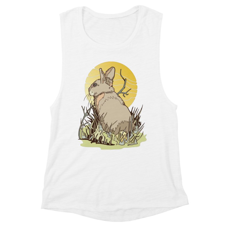 October Rabbit Women's Muscle Tank by My Metal Hand Artist Shop