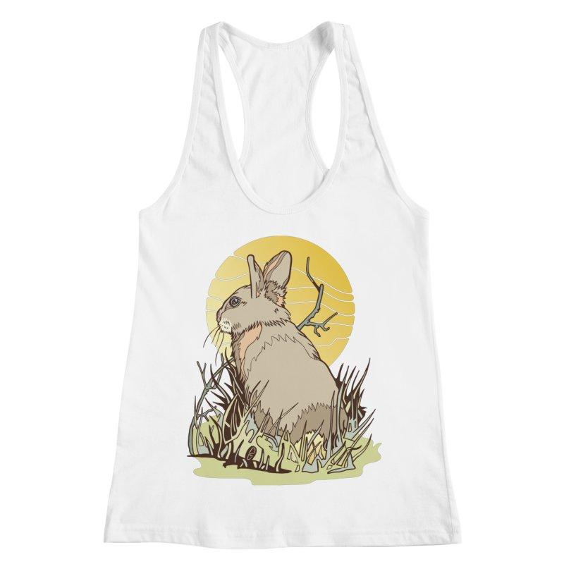 October Rabbit Women's Racerback Tank by My Metal Hand Artist Shop