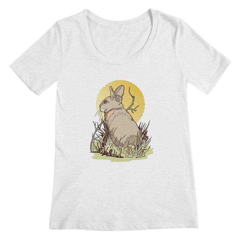 October Rabbit Women's Regular Scoop Neck by My Metal Hand Artist Shop