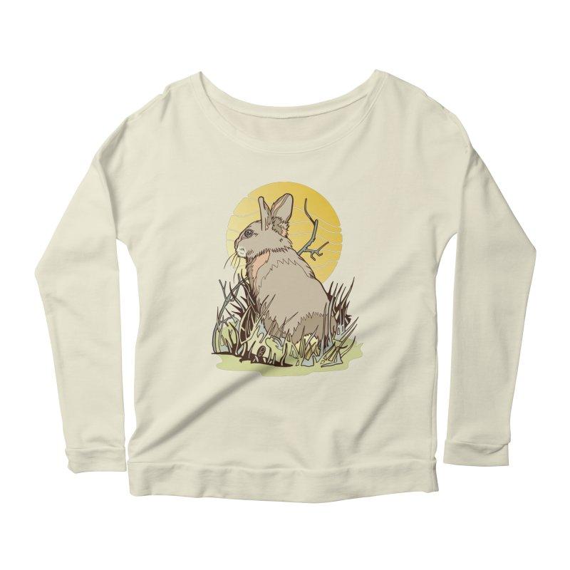 October Rabbit Women's Scoop Neck Longsleeve T-Shirt by My Metal Hand Artist Shop