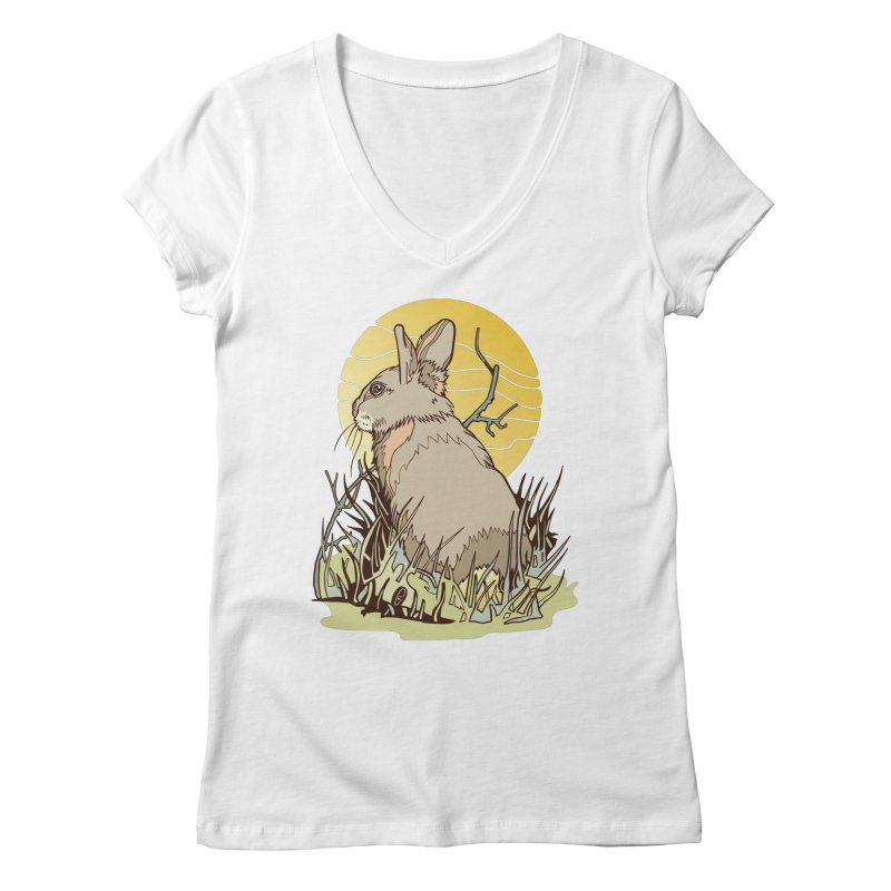 October Rabbit Women's Regular V-Neck by My Metal Hand Artist Shop