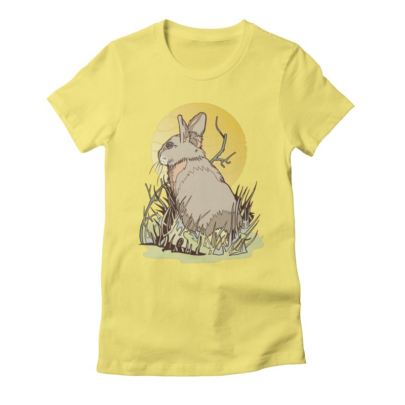 October Rabbit Women's Fitted T-Shirt by My Metal Hand Artist Shop