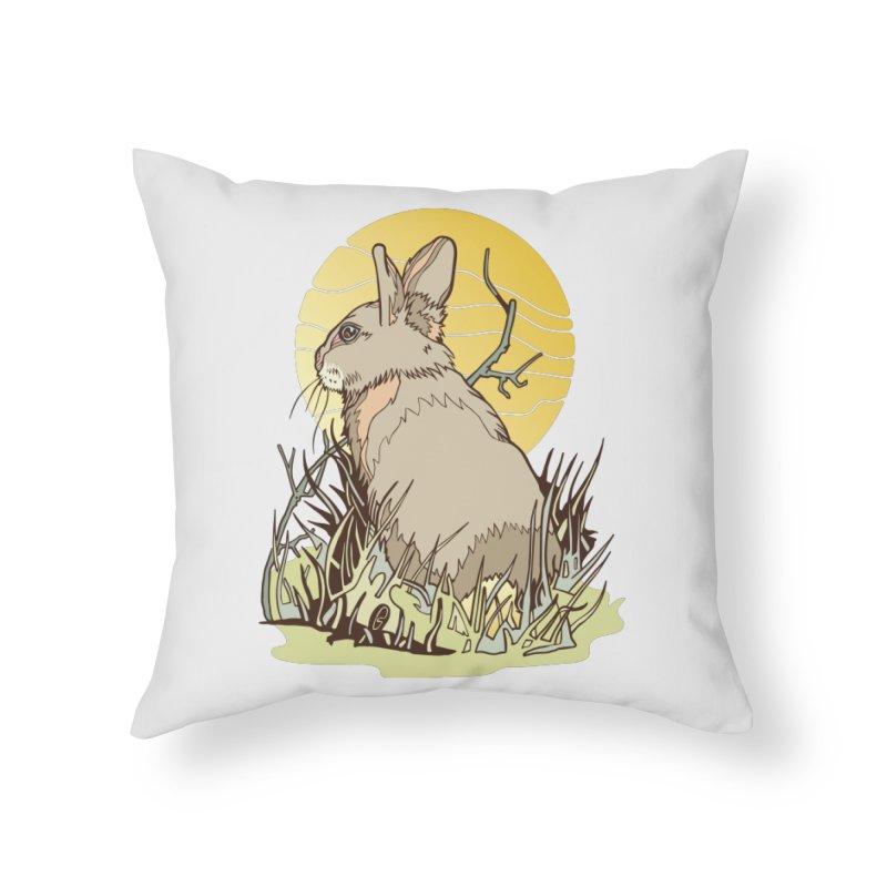 October Rabbit Home Throw Pillow by My Metal Hand Artist Shop