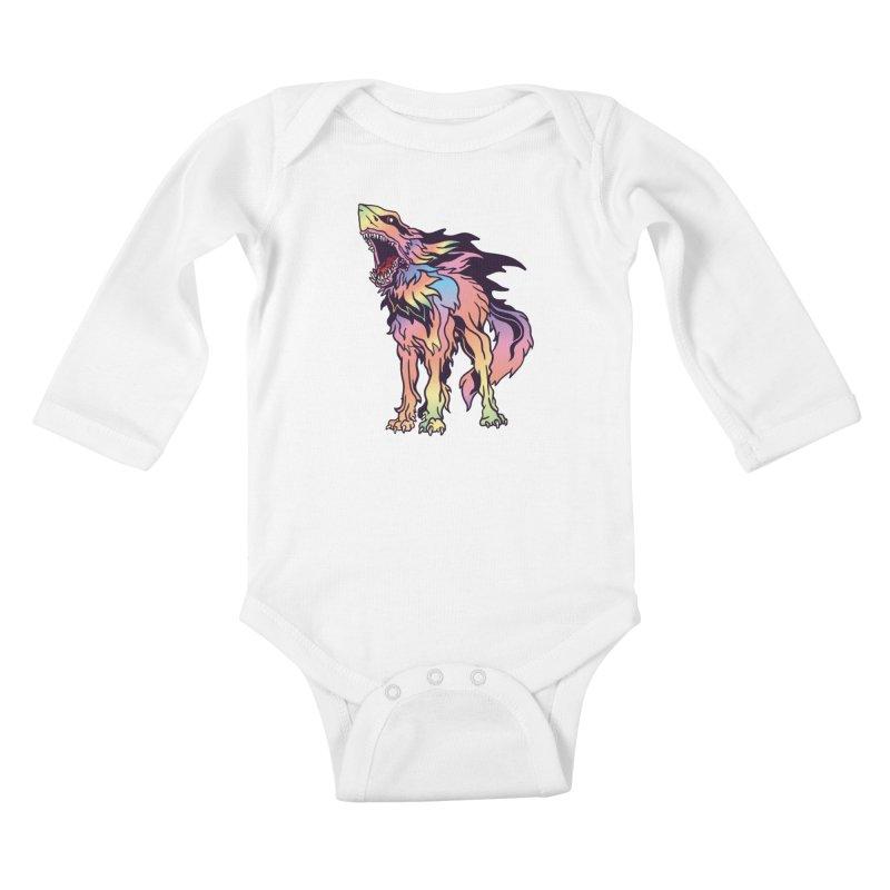 Shark Wolf Spectrum Kids Baby Longsleeve Bodysuit by My Metal Hand Artist Shop