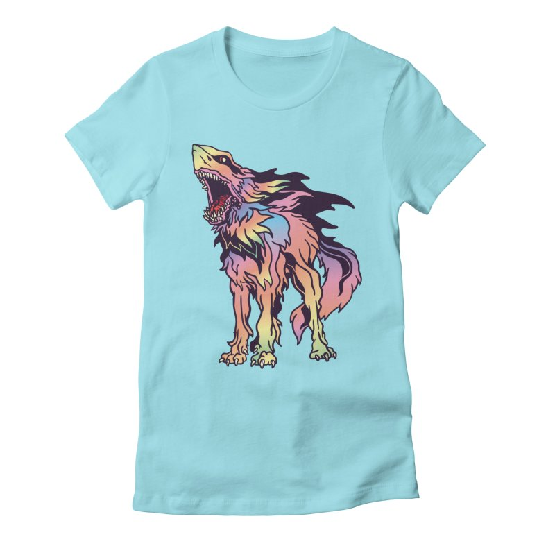 Shark Wolf Spectrum Women's Fitted T-Shirt by My Metal Hand Artist Shop