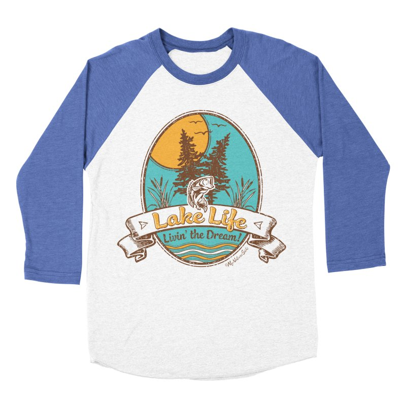 Lake Life - Living the Dream Men's Baseball Triblend Longsleeve T-Shirt by My Nature Side