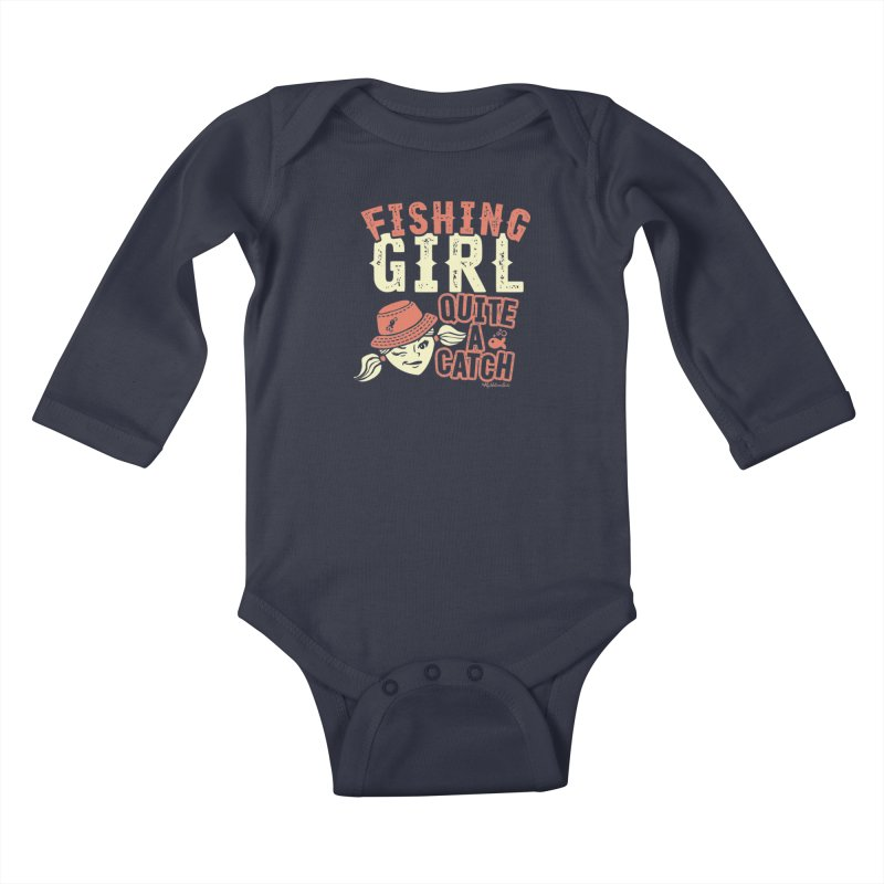Fishing Girl Quite a Catch Kids Baby Longsleeve Bodysuit by My Nature Side