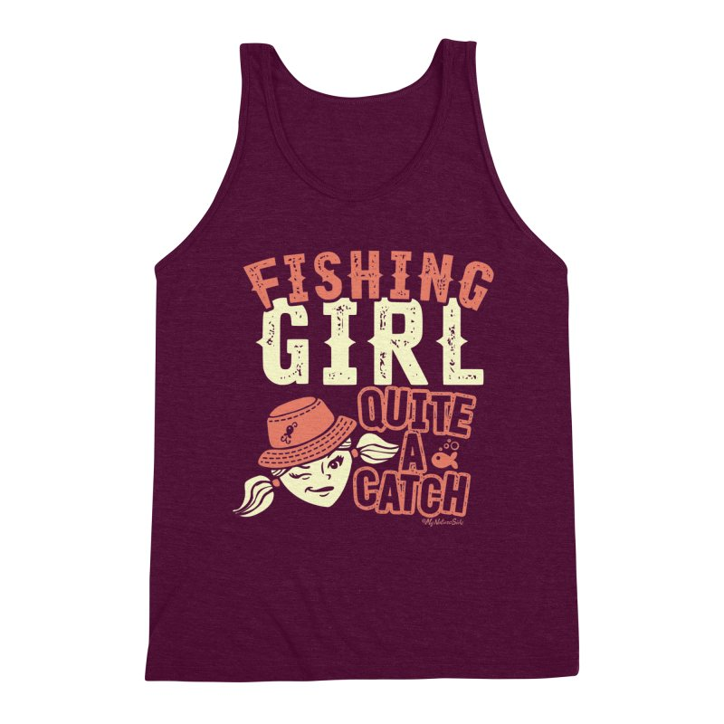 Fishing Girl Quite a Catch Men's Triblend Tank by My Nature Side