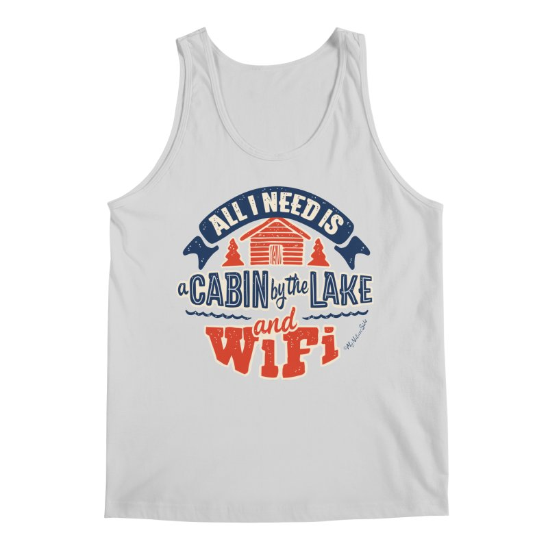 A Cabin, Lake and Wifi Men's Tank by My Nature Side