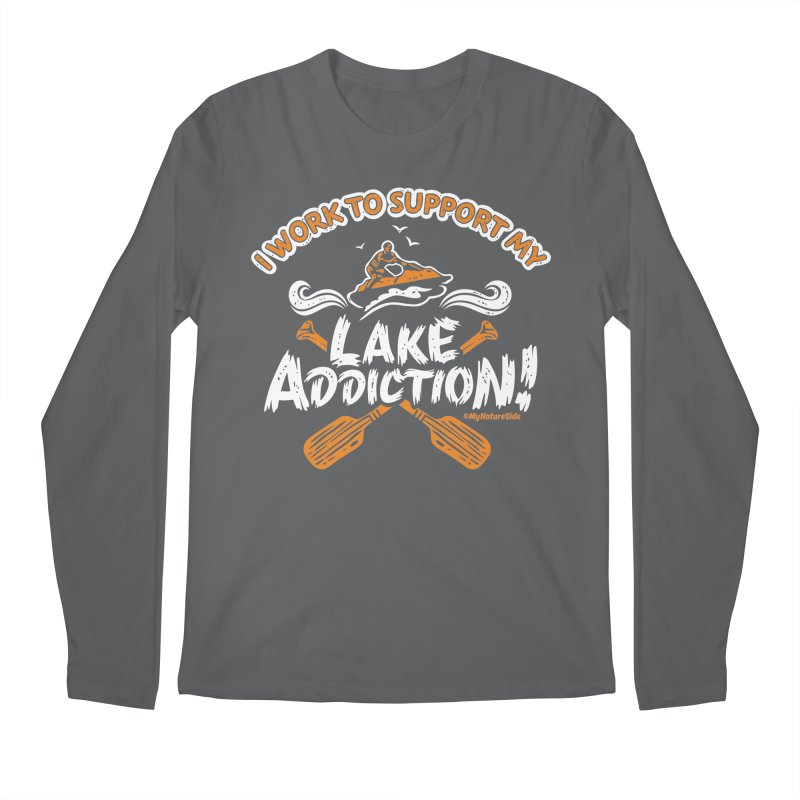 I Work To Support My Lake Addiction Men's Longsleeve T-Shirt by My Nature Side