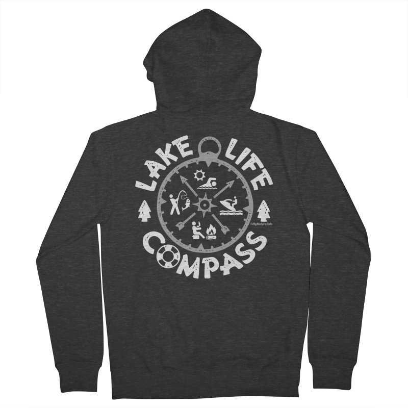 Lake Life Compass Men's French Terry Zip-Up Hoody by My Nature Side