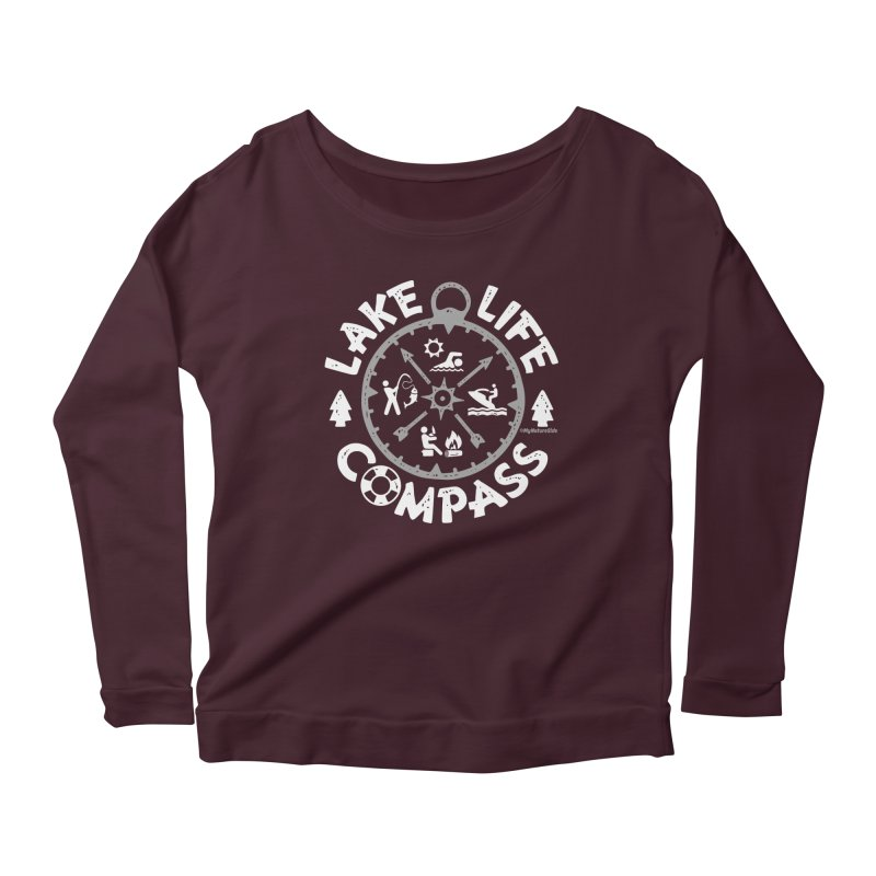 Lake Life Compass Women's Scoop Neck Longsleeve T-Shirt by My Nature Side