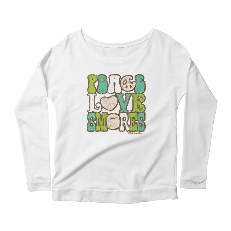 Peace Love Smores Women's Scoop Neck Longsleeve T-Shirt by My Nature Side