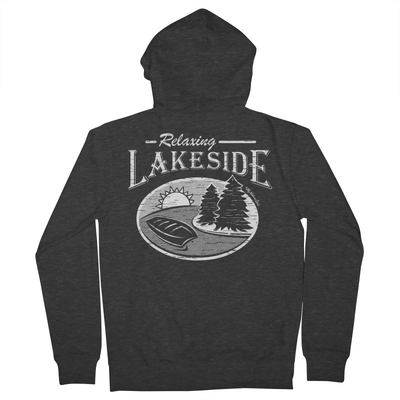 Relaxing Lakeside Men's French Terry Zip-Up Hoody by My Nature Side
