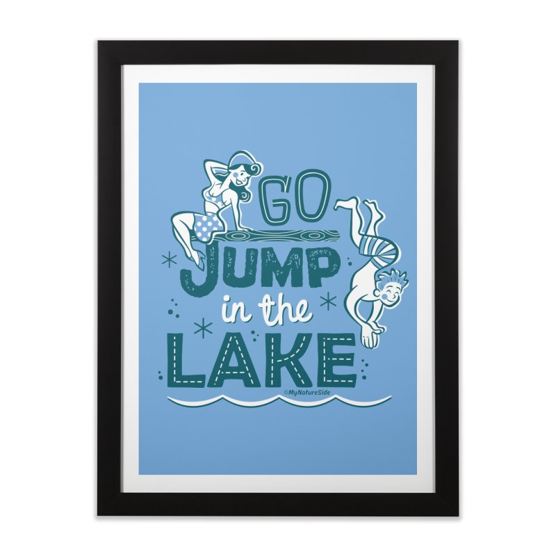 Go Jump In The Lake - Retro Home Framed Fine Art Print by My Nature Side