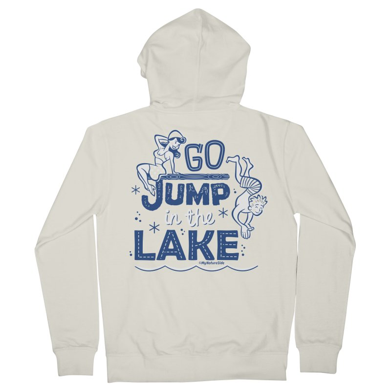 Go Jump In The Lake - Retro Men's French Terry Zip-Up Hoody by My Nature Side