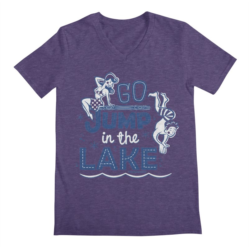 Go Jump In The Lake - Retro Men's V-Neck by My Nature Side