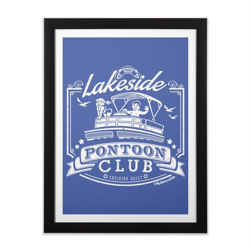 Lakeside Pontoon Club Home Framed Fine Art Print by My Nature Side
