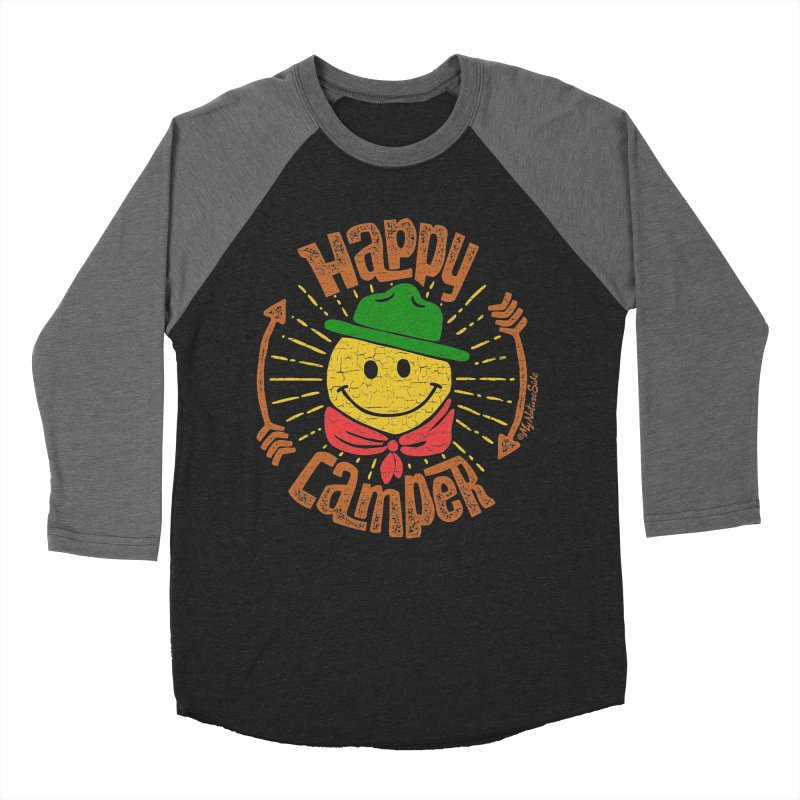 Happy Camper Men's Baseball Triblend Longsleeve T-Shirt by My Nature Side