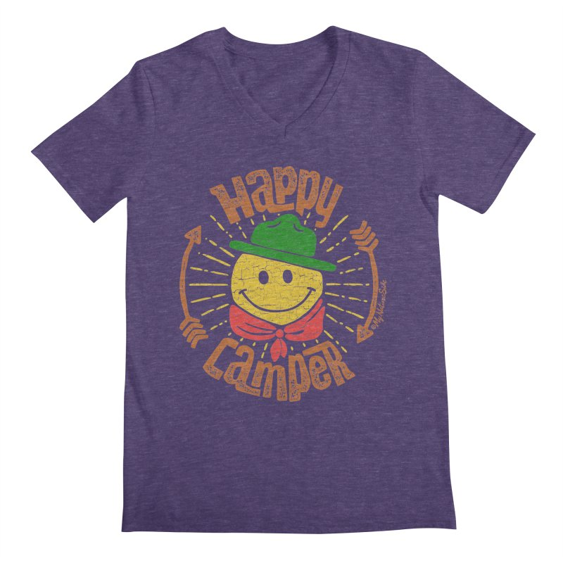Happy Camper Men's Regular V-Neck by My Nature Side