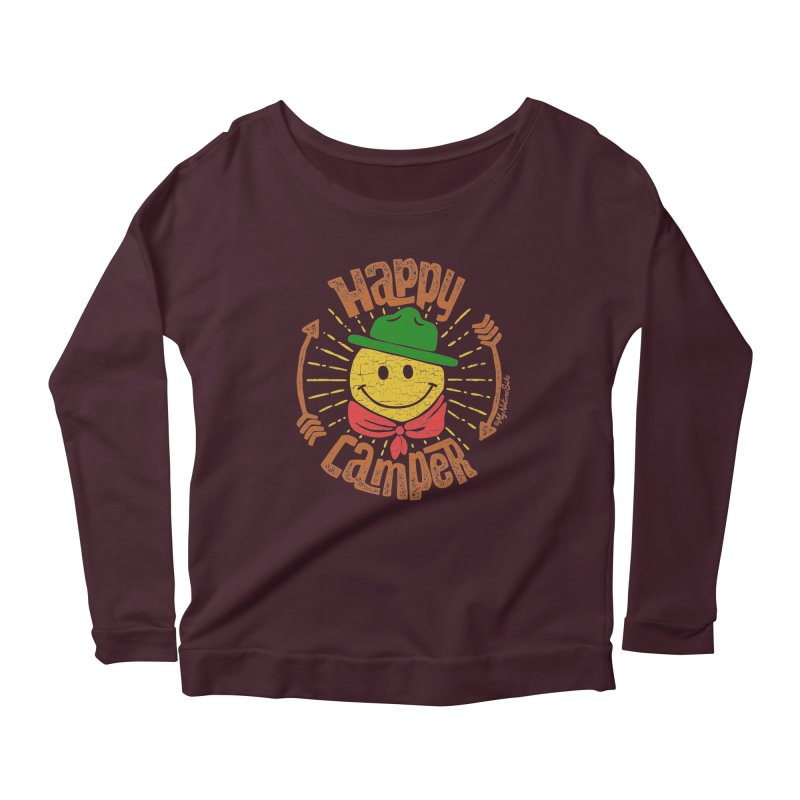 Happy Camper Women's Scoop Neck Longsleeve T-Shirt by My Nature Side
