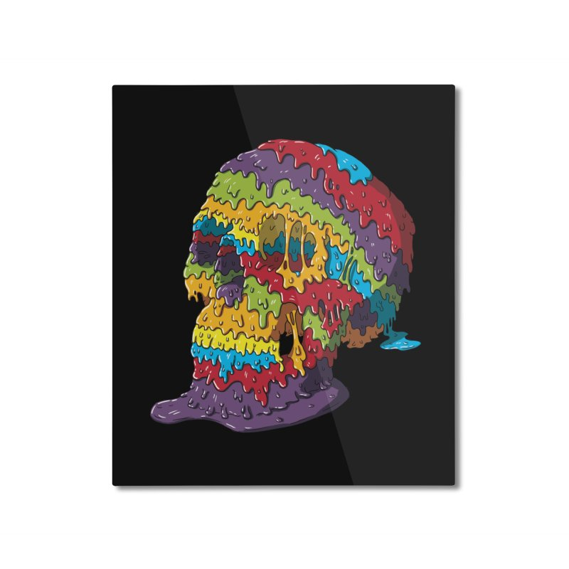 Melty Skull Home Mounted Aluminum Print by Mystic Soda