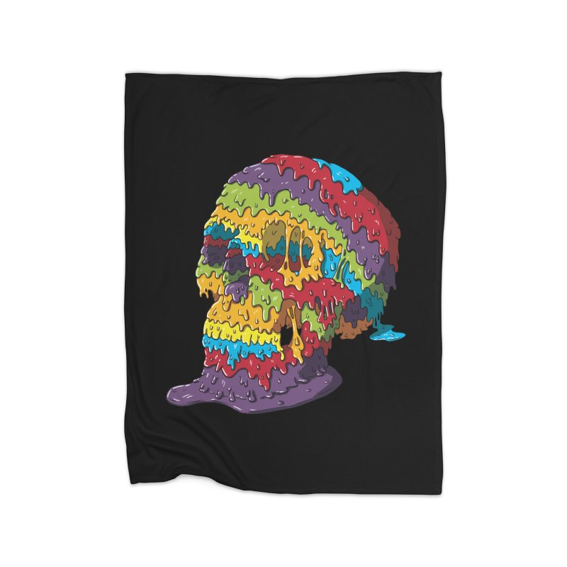 Melty Skull Home Fleece Blanket Blanket by Mystic Soda