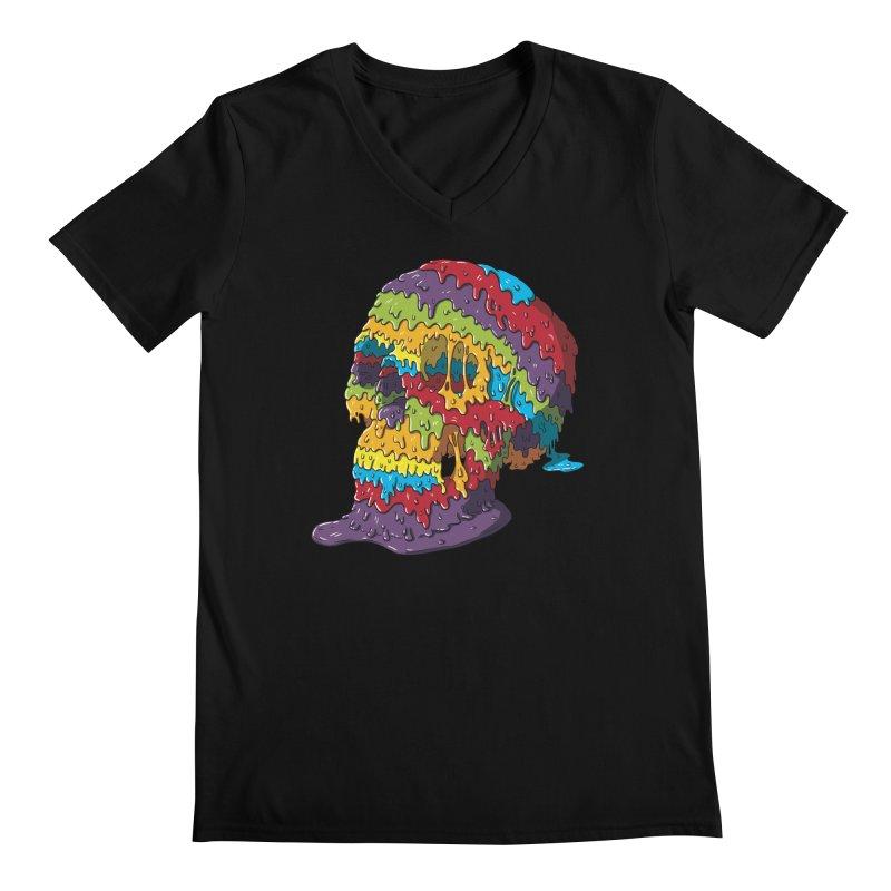 Melty Skull Men's Regular V-Neck by Mystic Soda