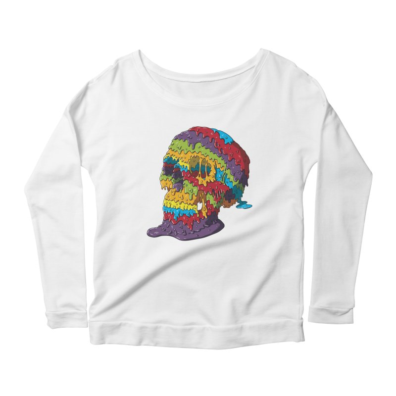 Melty Skull Women's Scoop Neck Longsleeve T-Shirt by Mystic Soda