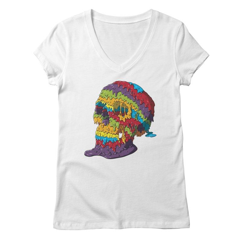 Melty Skull Women's Regular V-Neck by Mystic Soda