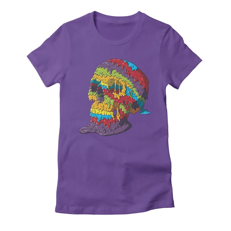 Melty Skull Women's Fitted T-Shirt by Mystic Soda