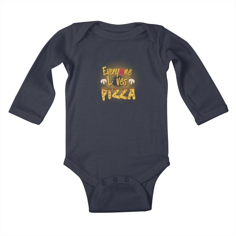 Everyone Loves Pizza Kids Baby Longsleeve Bodysuit by Mystic Soda Shoppe
