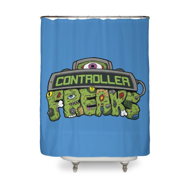 Controller Freaks - Logo Home Shower Curtain by Mystic Soda Shoppe