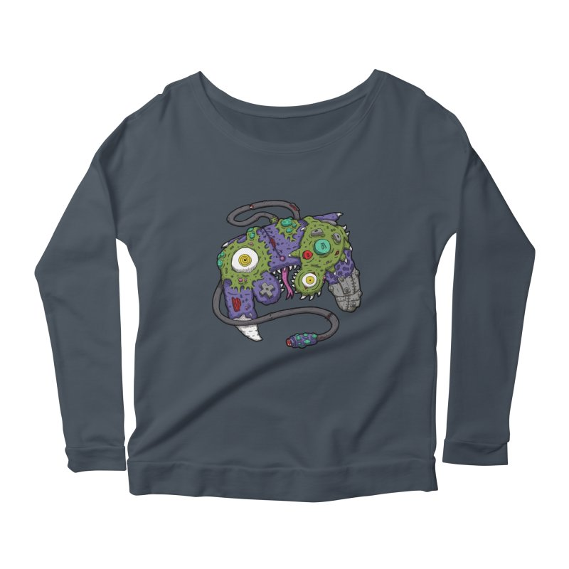 Controller Freaks - G4M3CUB3 Women's Scoop Neck Longsleeve T-Shirt by Mystic Soda Shoppe