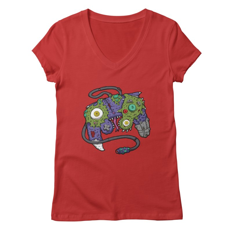 Controller Freaks - The GameCube Women's Regular V-Neck by Mystic Soda Shoppe