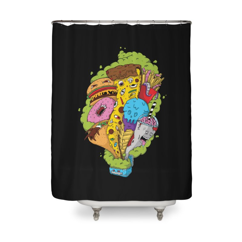 Pandora's Lunch Box Home Shower Curtain by Mystic Soda Shoppe