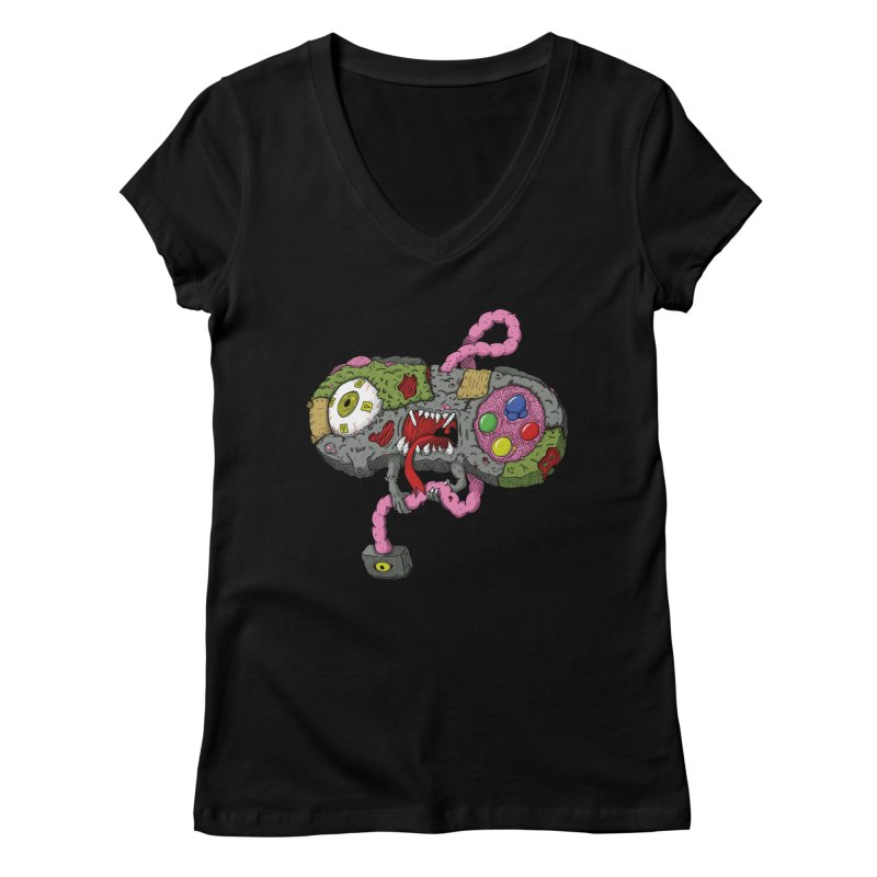 Controller Freaks - Super Nintendo Women's V-Neck by Mystic Soda Shoppe