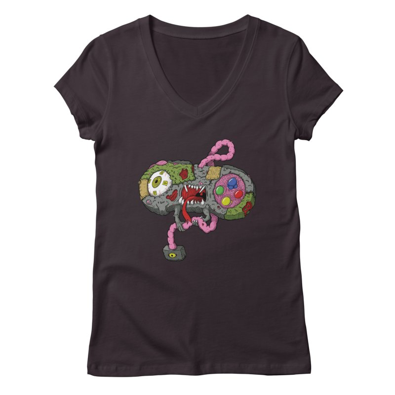 Controller Freaks - Super Nintendo Women's V-Neck by Mystic Soda Shoppe