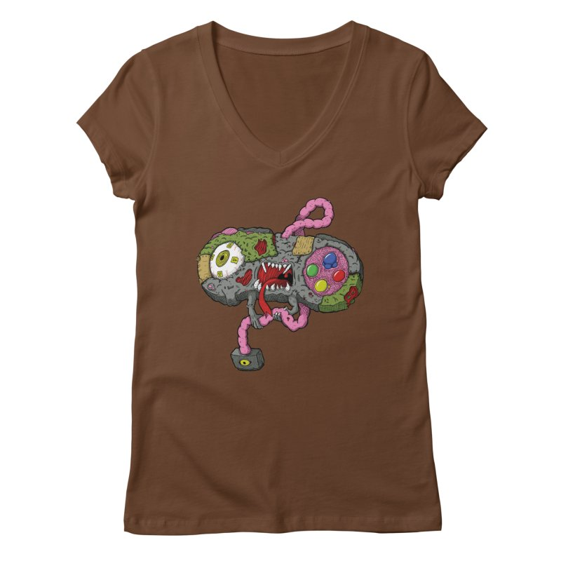 Controller Freaks - Super Nintendo Women's Regular V-Neck by Mystic Soda Shoppe