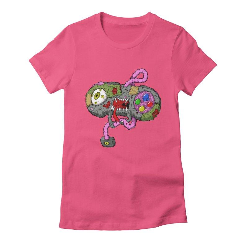 Controller Freaks - Super Nintendo Women's Fitted T-Shirt by Mystic Soda Shoppe