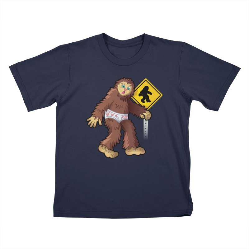 Bigfoot in underpants Kids T-Shirt by Mythical Universe's Artist Shop