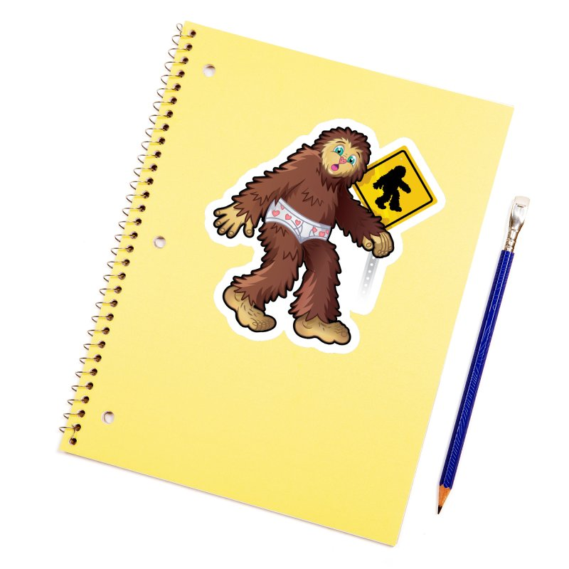 Bigfoot in underpants Accessories Sticker by Mythical Universe's Artist Shop