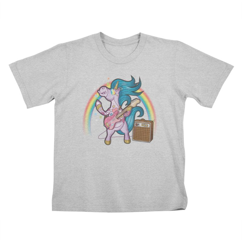Unicorns Rock Kids T-Shirt by Mythical Universe's Artist Shop